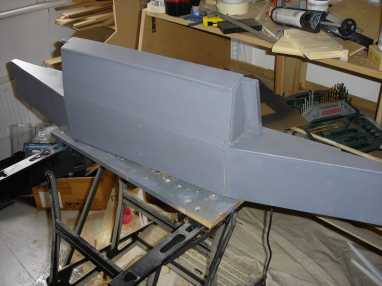 The finished-off glareshield frame needed a paint first