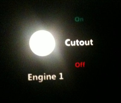 A backlit portion of the test panel