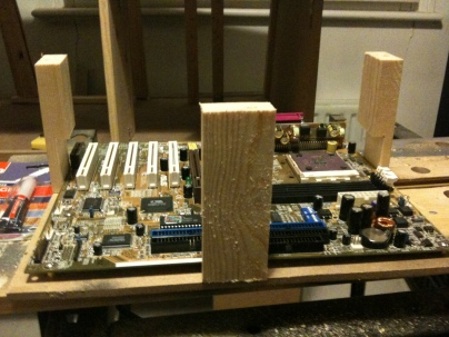 Support pillars in place, with K7 motherboard in as a test