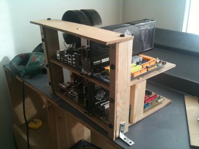 Completed double-deck frame for PC1 and 2