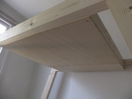 Ceiling frame with panels in place