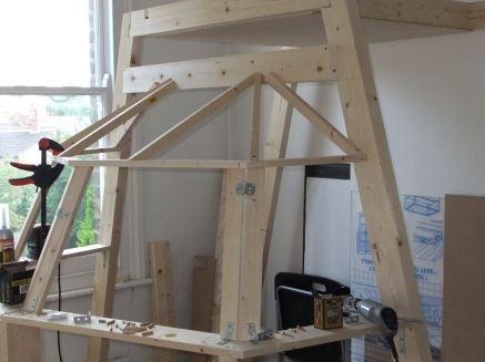 Shell frame with bulkhead and stringers attached
