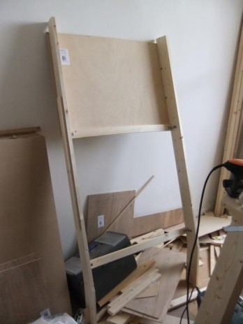 The door frame under construction in place