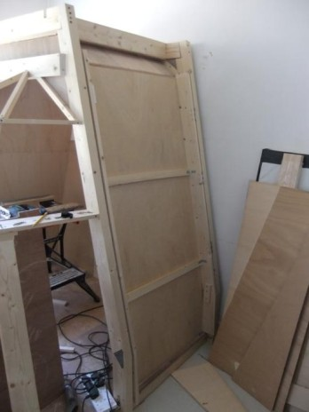 The door in place on its hinges